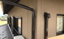 愛知県西三河東三河西尾市外壁塗装工事遮熱断熱セラミックガイナ塗装破風部切妻部塗装施工写真スリムダクト雨樋