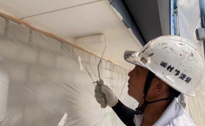 愛知県西三河東三河西尾市付帯部塗装工事シーリング工事汚れシーリング割れ色褪せ軒天上塗り2回目