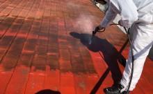 愛知県西三河東三河西尾市汚れ傷みメンテナンスカラーベスト屋根塗装アドグリーンコートEXクールブラウン汚れ苔施工写真高圧洗浄