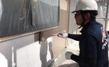 愛知県西三河東三河西尾市外壁塗装アステックリファインSi超低汚染シリコン塗装カラーボンドベイジュ外壁施工写真中塗り