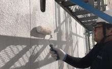 愛知県西三河東三河西尾市外壁塗装アステックリファインSi超低汚染シリコン塗装カラーボンドベイジュ外壁施工写真下塗り
