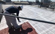 愛知県西三河東三河西尾市汚れ傷みメンテナンスカラーベスト屋根塗装アドグリーンコートEXクールブラウン汚れ苔施工写真プライマー2回目ホワイト