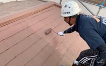 愛知県西三河東三河西尾市汚れ傷みメンテナンスカラーベスト屋根塗装アドグリーンコートEXクールブラウン汚れ苔施工写真上塗り