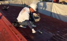 愛知県西三河東三河西尾市汚れ傷みメンテナンスカラーベスト屋根塗装アドグリーンコートEXクールブラウン汚れ苔施工写真プライマー1回目クリヤー