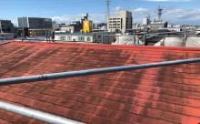 愛知県西三河東三河西尾市汚れ傷みメンテナンスカラーベスト屋根塗装アドグリーンコートEXクールブラウン施工写真現状