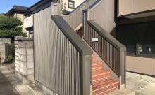 愛知県西三河東三河西尾市外壁塗装アステック超低汚染遮熱シリコン塗装カラーボンドベイジュ屋根塗装アドグリーンコートEXブラウン外階段