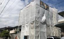 愛知県西三河東三河西尾市外壁塗装アステック超低汚染遮熱シリコン塗装カラーボンドベイジュ屋根塗装アドグリーンコートEXブラウン自社施工足場