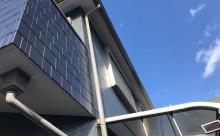 愛知県西三河東三河西尾市外壁塗装工事ベランダ防水工事アステック超低汚染遮熱シリコン塗装カラーボンドスレートグレーアクセント壁チャコールベランダ床FRP保護仕上げメンテナンス色褪せ傷み汚れ施工後外観2