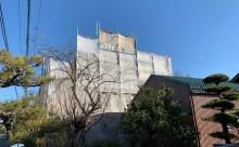 愛知県西三河東三河西尾市外壁塗装工事外壁改修工事木部塗装母屋離れ低汚染高耐久シリコン塗装傷みシミ汚れ割れメンテナンス自社施工足場