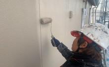 愛知県西三河東三河西尾市外壁塗装工事網戸張替え工事アステック超低汚染無機フッ素塗装カラーボンドベイジュ汚れ傷み色褪せメンテナンス外壁施工手順上塗り