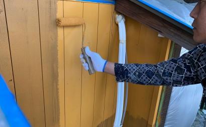 愛知県西三河東三河西尾市外壁塗装工事木部擁壁塗装工事低汚染高耐久シリコン塗装木部黒ずみ汚れ経年劣化メンテナンス外壁木部塗装施工手順上塗り