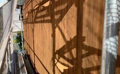 愛知県西三河東三河西尾市外壁塗装工事木部擁壁塗装工事低汚染高耐久シリコン塗装木部黒ずみ汚れ経年劣化メンテナンス外壁木部塗装施工手順現状