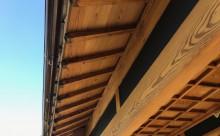 愛知県西三河東三河西尾市外壁塗装工事木部擁壁塗装工事低汚染高耐久シリコン塗装木部着色防腐剤水性造膜系塗装付帯部4Fフッ素黒ずみ汚れ経年劣化メンテナンス施工後木部軒天和造り2