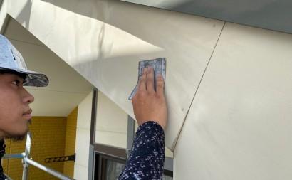 西尾市、ALC外壁、破風板フッ素塗装