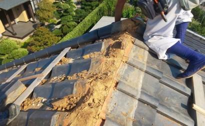 西尾市瓦屋根、棟部再建工事